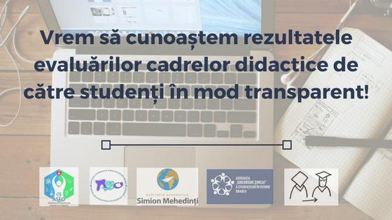 Vrem să cunoaștem rezultatele evaluărilor cadrelor didactice de către studenți în mod transparent!